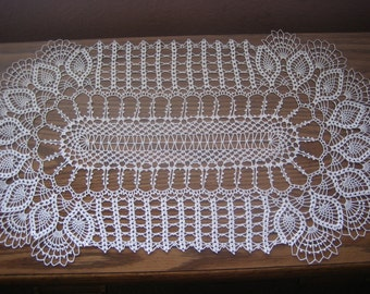 Oval lace runner, Hand Crocheted,New,Free Shipping in the US