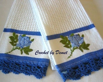 Rare !! Kitchen towels, set of 2,  hand made crochet edged,  blue,  new