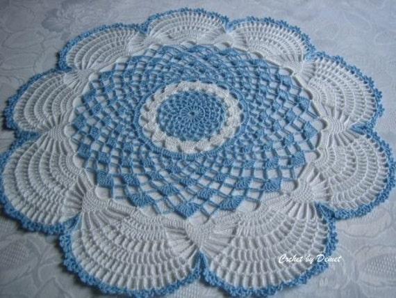Hand crafted, new Ocean blue, scalloped thread crochet doily, houseware, handmade doilies