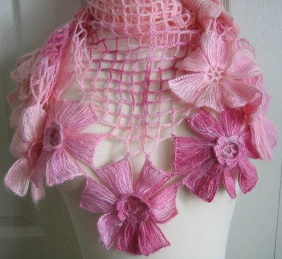 Lacy Shawl, scarf, wrap, pink,variegated, fancy,hand crocheted, sooooooo beautiful, new