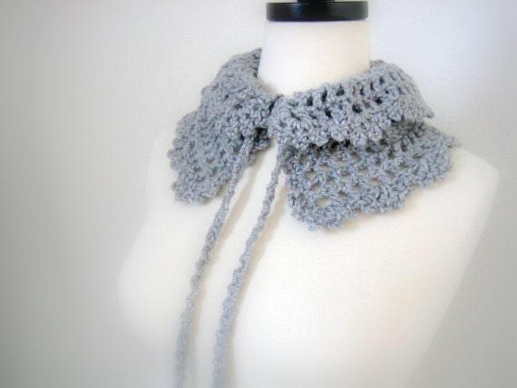 Grey neckwarmer/collar, hand crocheted,  New, winter fashion, ready to ship