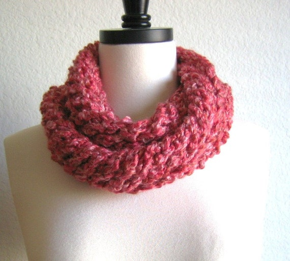 Soft red chunky hand knit scarf, new, knitted by Demet