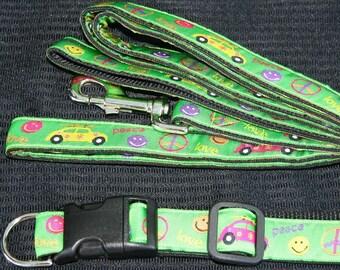 VW Bug and Peace Dog Collar and Leash Set