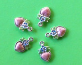 Pink Enameled Heart Charms