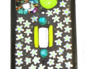 Dichroic Glass Mosaic Switchplate - Lime Green - Flower Beads - Murano - Turquoise -  Home and Living -  Home Decor