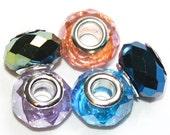 Pandora Style Glass Charm Beads - 5 - Lavender - light blue - light pink - AB dark blue - AB Dark Green