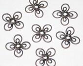 Bead Cap, Antique Copper Wire Flowers, Connectors, Links, 16mm, 72 Pieces