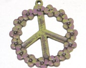 Peace Pendant, Peace Sign Charm, Hand Painted over Copper,  Peace Sign with Flowers, 4 Pieces - 37 x 41mm, Sale