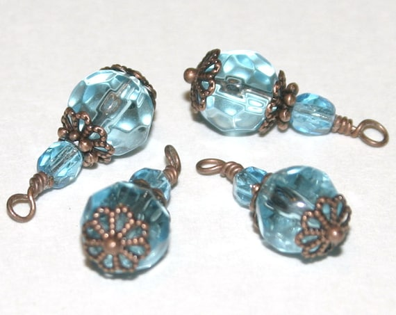 Sale, Vintage Style, Wire Wrapped, Faceted Glass Charms - 4 Pieces