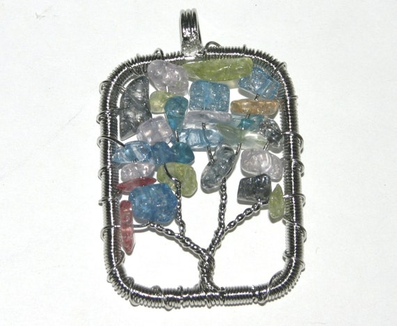 Gemstone and Silver Wire Wrapped Tree of Life Charm, Sale