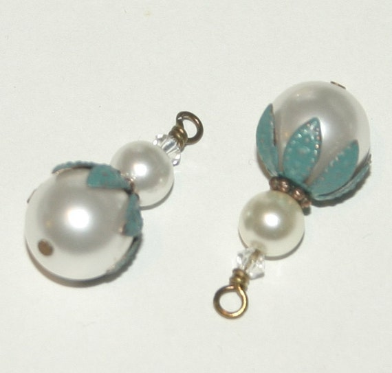 Hand Made Charms with Faux Patina Verdigris, Hand Painted Caps and Swarovski Pearls and Crystals, Vintage Style - 2 Pieces, Earring Supplies