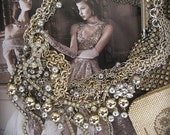 ON Hold FINAL PAYMENT The Daring Debutante:  Vintage Assemblage Necklace Rhinestones Chains Beads Statement Wedding Prom Party