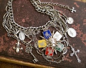 Night of Knights: Medieval Vintage Assemblage Statement Necklace Renaissance Queen Collar Choker