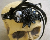 Custom Headbands Combs Special Order: Skull Fascinator with Feathers Flowers Sparkle Bling