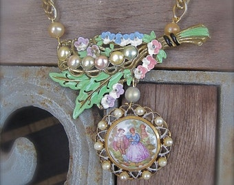 Milady's Bouquet: Cameo Necklace Boho Bride Retro Garden Wedding Shabby Chic Romantic Floral Pastel Pearl Vintage Assemblage One of a Kind