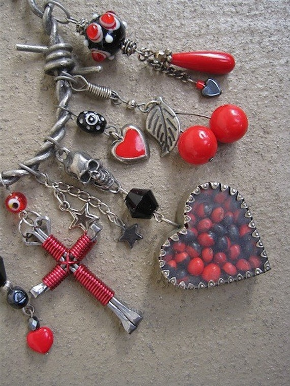POISON HEART Charmed Protection Necklace Rockabilly Pinup Girl Cherries Skulls Cross One of a Kind ooak