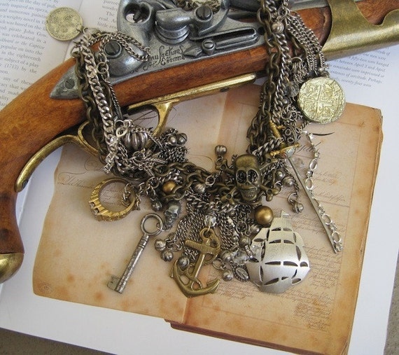 Along the Spanish Main: Vintage Assemblage Necklace Pirate Ship Treasures PIRATE Queen Wedding One of a KInd ooak
