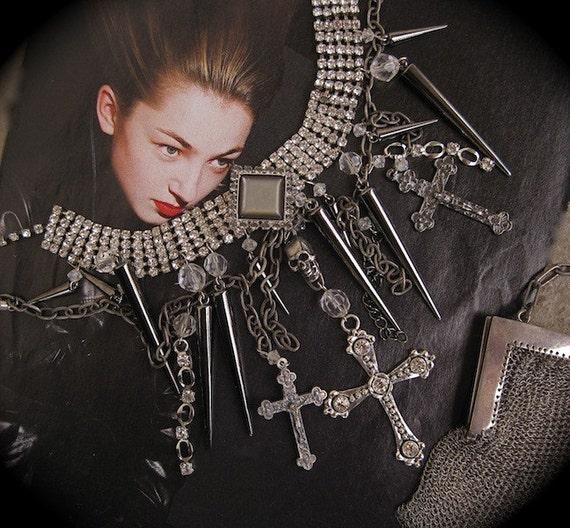 Divine Daggers and Diamonds-Spikes, Crosses and Skull Rhinestone Choker