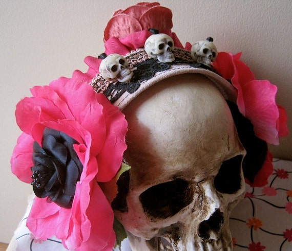 Day of the Dead HEADBAND Skulls and Flowers One of a Kind ooak Ode to Frida