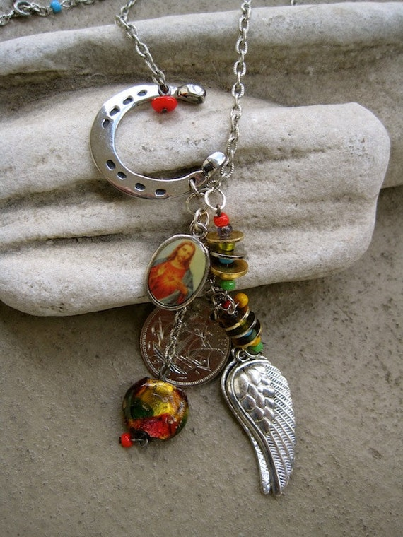 Wing and a Prayer:  Lucky Protection Necklace Horseshoe Vintage Assemblage One of a Kind ooak