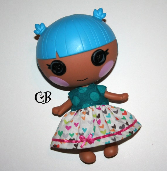 Teal Heart print dress for Lalaloopsy Littles Dolls // Ready to Ship