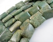 Green Jade 25mm Rectangle Gemstone Beads 8 inches Half Strand ,
