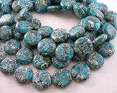 Mosaic Magnesite 18 Mm Coin Gemstone Beads Half Strand