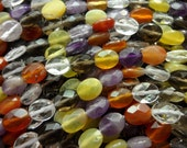 Mix 8 mm Oval Faceted Gemstone Beads 15.5 inches Full Strand G103