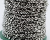 600 Meters 1.5 mm Silver Tone Brass Faceted Ball Chain - W71