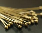100 Pcs 35 Mm Antique Brass Ball Head Pin, Findings - Bp-02   BRC225