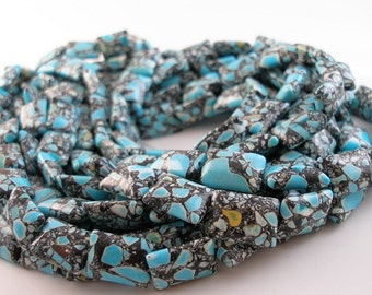 Mosaic Magnesite Turquoise 18mm  Rectangle Gemstone Beads G128