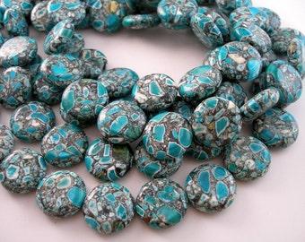 Mosaic Magnesite 18 Mm ( 6 pcs ) Coin Gemstone Beads Half Strand  T072