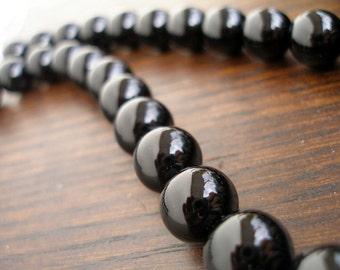 Black Onyx  12 Mm Gemstone Round Beads