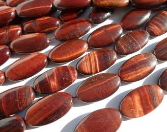 Red Tiger Eye 18 Mm Oval Gemstone Beads 15.5 Inches Full Strand G41