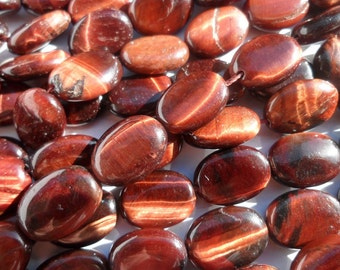 Red Tiger Eye 14 Mm Oval Gemstone Beads 15.5 Inches Full Strand G58