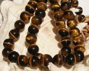 Tiger Eye 14mm , Gemstone Round Beads 1 Strand T016