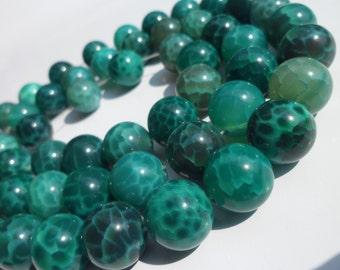 Green Crab Agate 14 Mm Gemstone Round Beads Full Strand G5