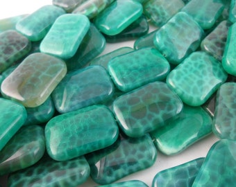 Full Strand Green Crab Agate 25x18 Mm Gemstone Rectangle Beads 15.5 Inches G6