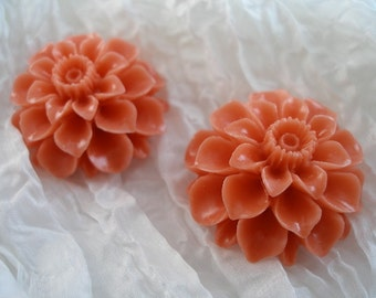 4 Pcs Orange 35 Mm Chrysanthemum Cabochon