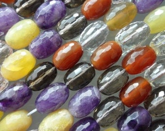 Mix 14 Mm  Faceted Barrel Gemstone Beads 15.5 Inches Full Strand G105
