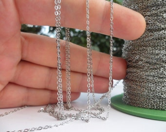 Silver Tone Chain, 200 Meters - 660 Feet (1.5x2mm) Silver Tone Brass Soldered Chain - Y005  ( Z015 )