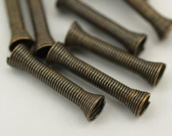 10 Pcs 20x5 Mm Antique Bronze Tone Metal Wire Tube Spacer Bead Sb-03  K149