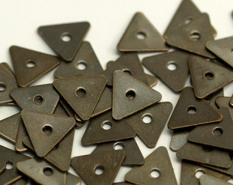 Antique Bead Caps, 500 Antique Brass Triangle Middle Hole Bead Caps, Findings (7mm) Pen 619