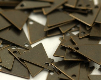 250 Pcs Antique Brass Triangle Charms (10 X 9 Mm)  K094