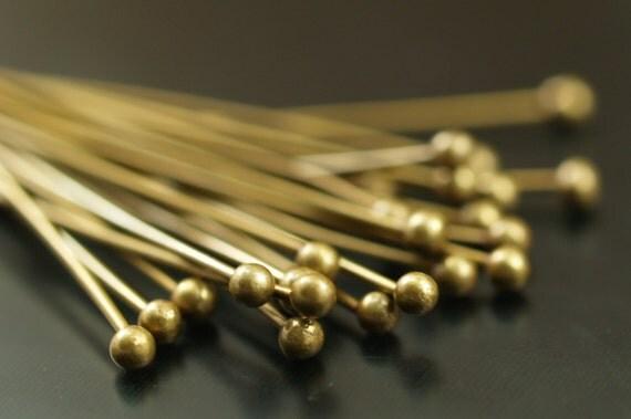 Antique Brass Pin, 500 Antique Brass Ball Head Pins, Findings (35mm) Bp-02  BRC225