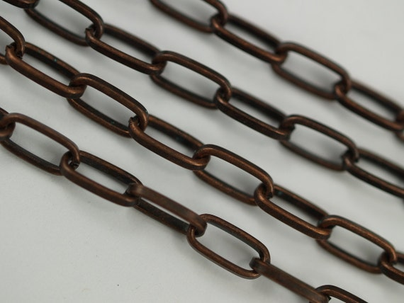 1 Meter - 3.3 Feet (10 x 4.5 mm) Antique Copper Tone Metal Open Link Chain - YB613