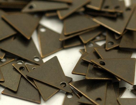 Brass Triangle Charm50 Antique Brass Triangle Charms (10x9mm)  K094