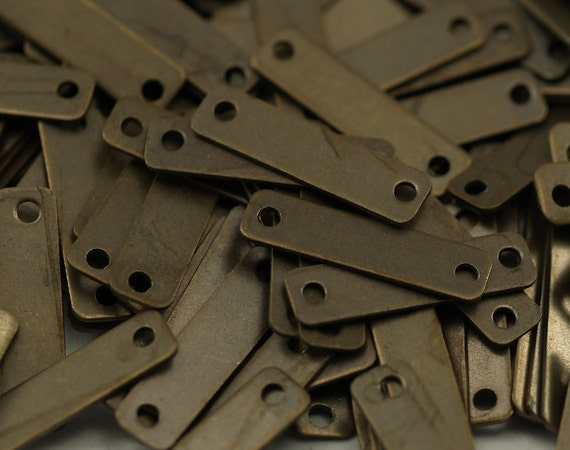 200 Pcs Antique Brass Rectangle 2 Holes Connector Charms Geometric Findings  (15x4 Mm)  K132