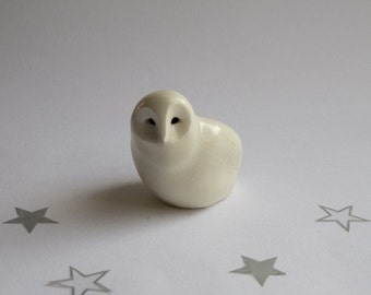 Porcelain Barn Owl, Snow Owl, white owl, ceramics, handcrafted owl, by CreationM