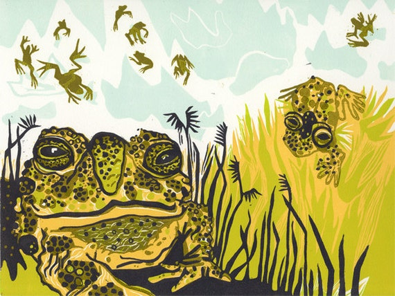 Wyoming Toad Original hand carved woodcut